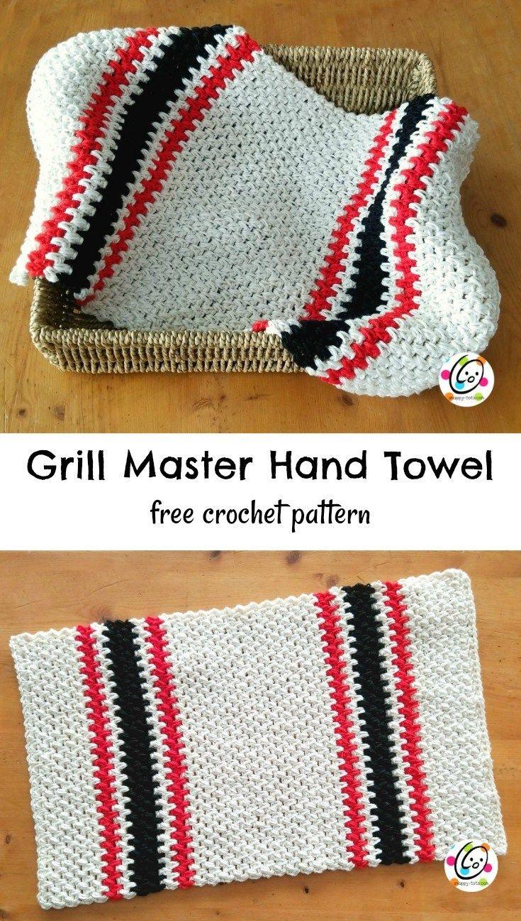 Free Pattern Grill Master Hand Towel Crochet Pinterest