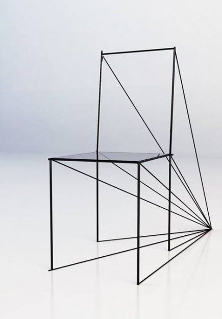 "mechanical ""perspective"" by artem zigert - an elegant rendition of how playing with perspective can result in sculptural seating. straight lines, varied angles and spatial trickery provide a fascinating conversation piece - from store mocoloco - 500-5000 usd"