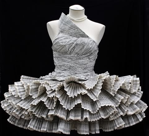 """No idea of what to do with old phone books ? Designer Jolis Paons know what to do with it, she recycled them into """"cocktail"""" dress"""