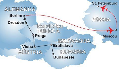 Mapa Leste Europeu e Rússia