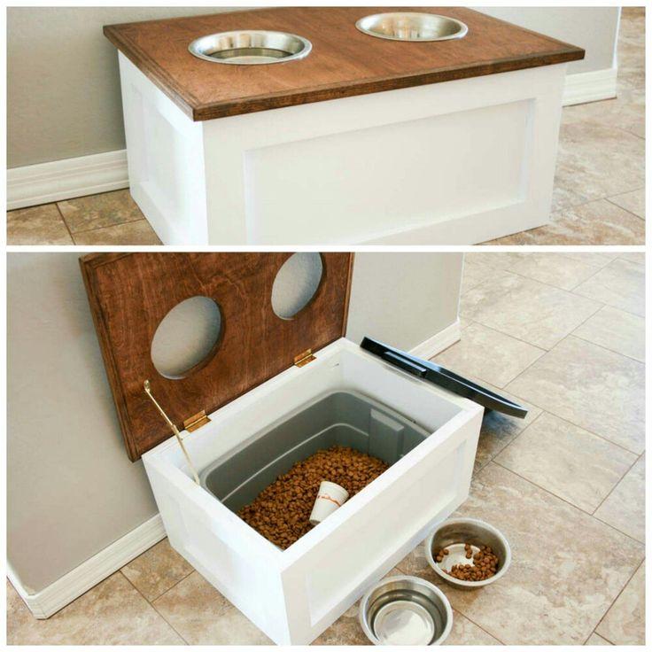 Dog food holder and feeder.                                                                                                                                                                                 More