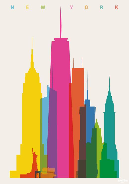 NYC: Empire State Building, Statue of Liberty, Washington Sq. arch, Guggenheim Museum, Bank of America Tower, One WTC, Three WTC, Conde Nast Building, NY Life Building, Chrysler Building. // Shapes of Cities