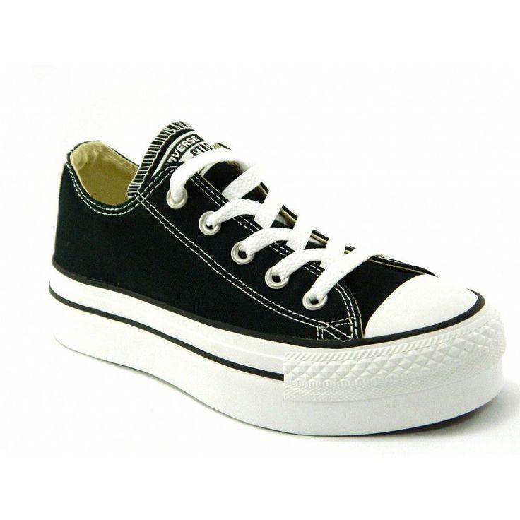 Converse All Star Platform OX scarpe zeppa doppio fondo nere donna