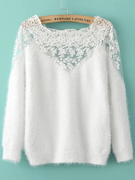 Shop White Lace Insert Boat Neck Mohair Sweater online. SheIn offers White Lace Insert Boat Neck Mohair Sweater & more to fit your fashionable needs.