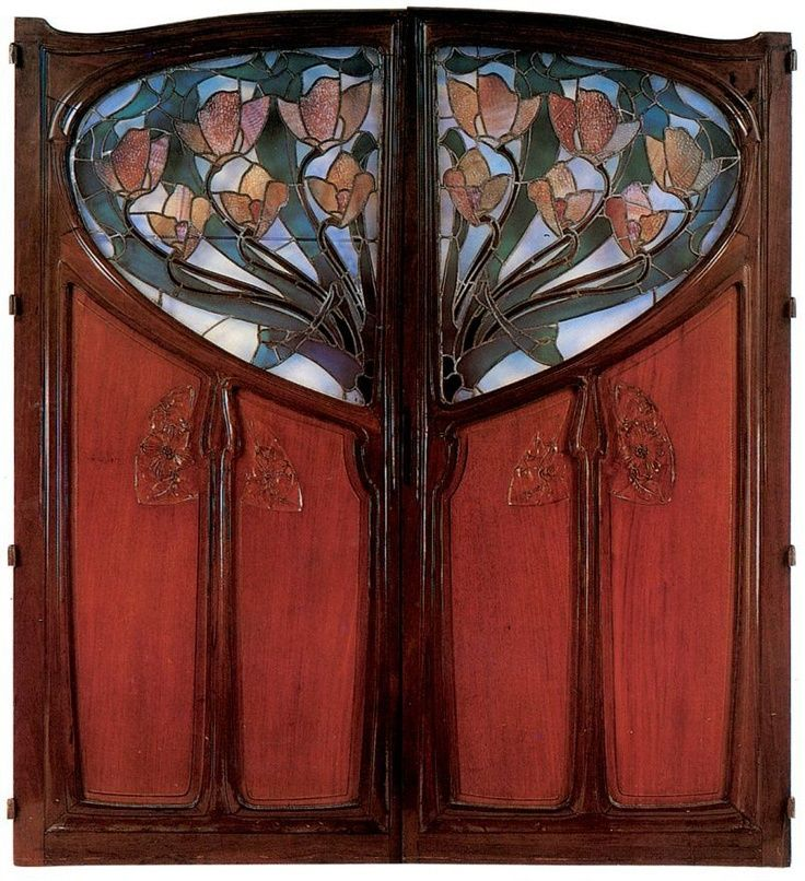 Art Nouveau Double Door   1901 by Andre Emile Trivet & Bellery-Defonten | mahogany, gilt bronze, chased and opalescent glass: