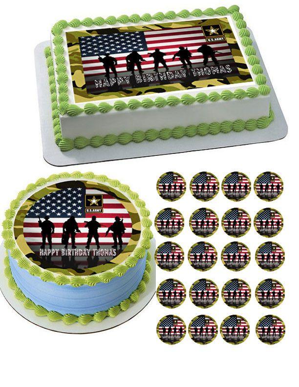 U.S. ARMY Edible Birthday Cake Topper OR Cupcake Topper ...