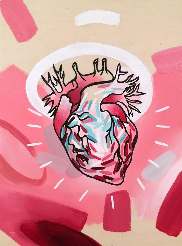 JENNIFER CLARK - Angel Heart, 2016 12˝ × 9˝ Acrylic on Panel