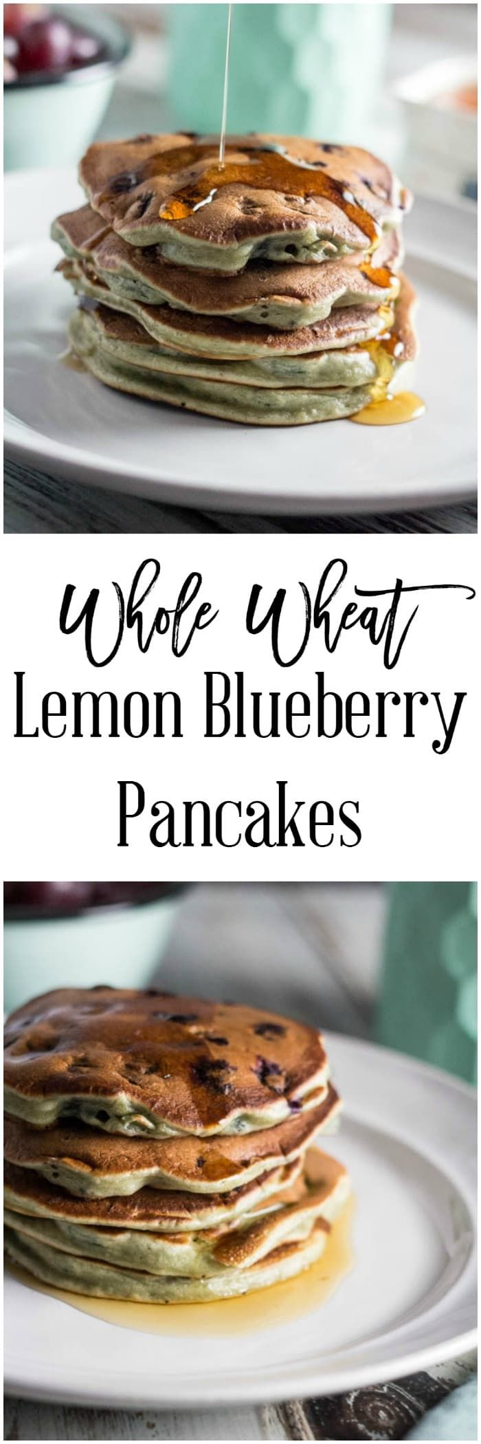 Breakfast doesn't have to mean spending hours in the kitchen.  These whole wheat lemon blueberry pancakes are great to make ahead over the weekend and freeze for quick and easy breakfasts during the week.  They are also only 6 SmartPoints per serving on Weight Watchers, 2 pancakes. via @dashofherbs