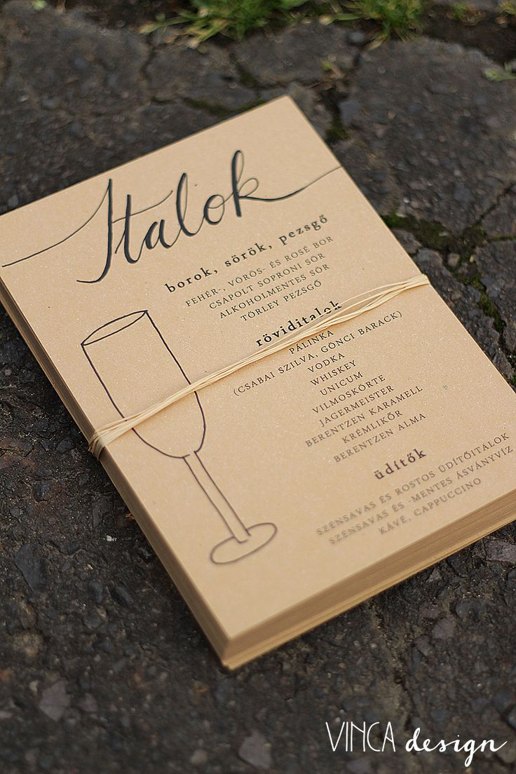 Vinca Design, wedding menu, wedding stationery, rustic wedding, natural wedding, recycled paper // menükártya, esküvői menükártya, rusztikus esküvő, natúr esküvő, újrahasznosított papír