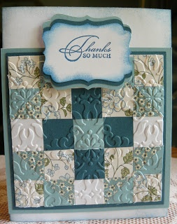 with embossed scrap pieces... I <3 this look with all the different directions of the embossing
