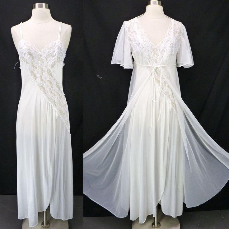 Vintage Val Mode White Peignoir Set Nylon Lace Nightgown & Sheer Chiffon Robe M #ValMode #RobeGownSets