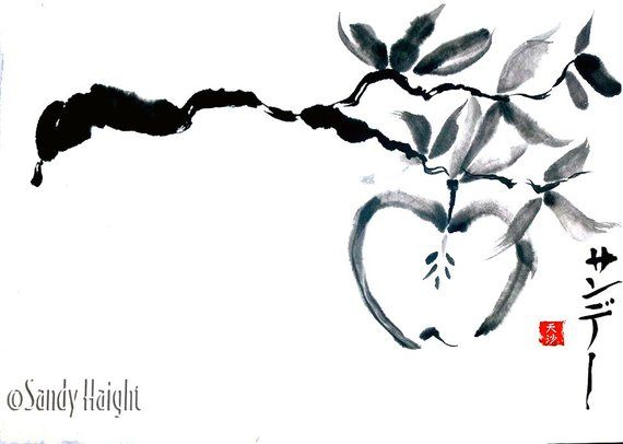 Original Sumi Painting, Apple Branch, art, fall, harvest