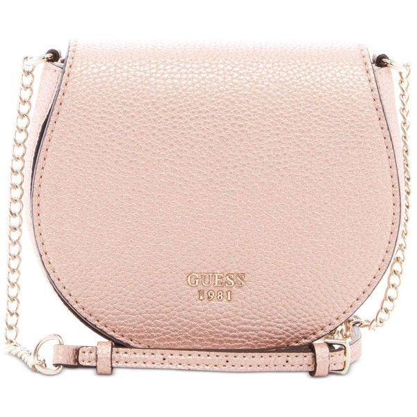 Guess Cate Mini Saddle Crossbody Bag ($60) ❤ liked on Polyvore featuring bags, handbags, shoulder bags, rose gold, mini shoulder bag, crossbody handbag, crossbody saddle bag, guess purses and mini cross body purse