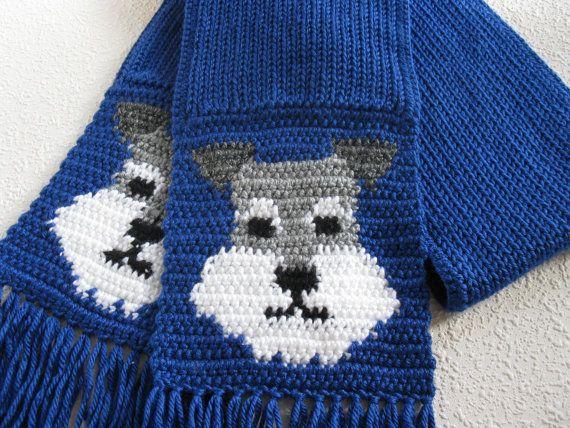 Bufanda del Schnauzer miniatura. Azul marino de punto bufanda con caras de perro Schnauzer. Tejer bufanda de perro.
