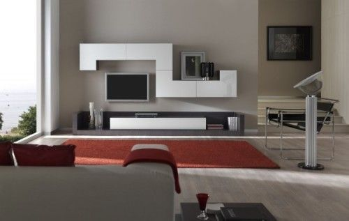 Modern Minimalist Living Room With Red and White Design 9