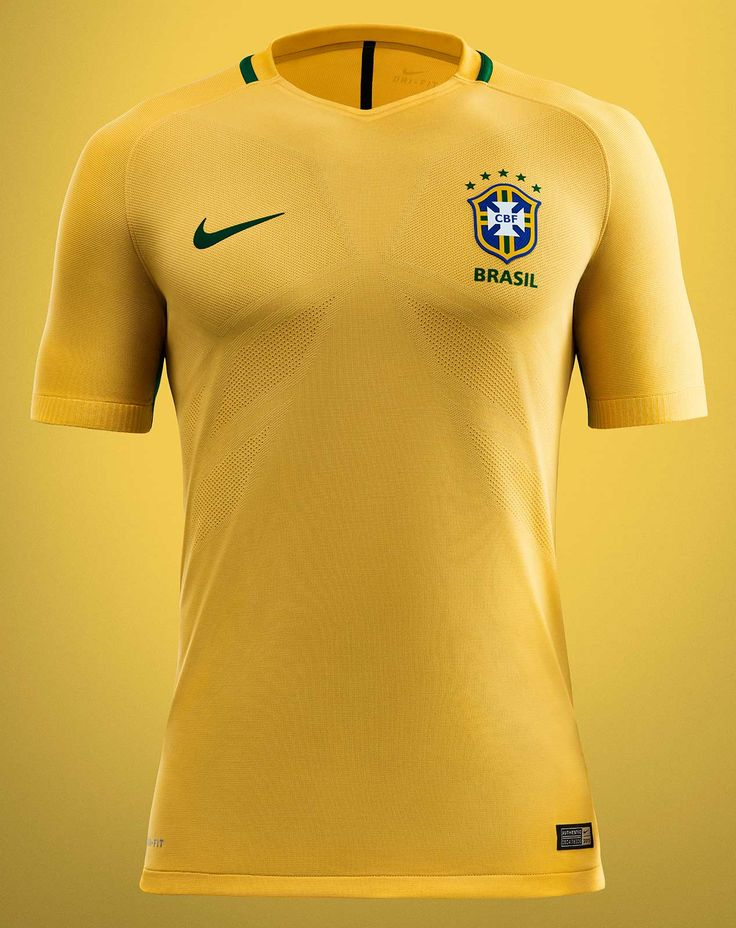 The new Brazil 2016 kit introduces a modern look, combining the traditional Brazil jersey colors yellow and green.