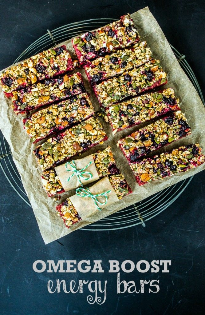 TheseOmega Boost Beetroot & Blackcurrant Energy Bars are packed with vitamins, minerals and omega oils - perfect for vegetarians or vegans.