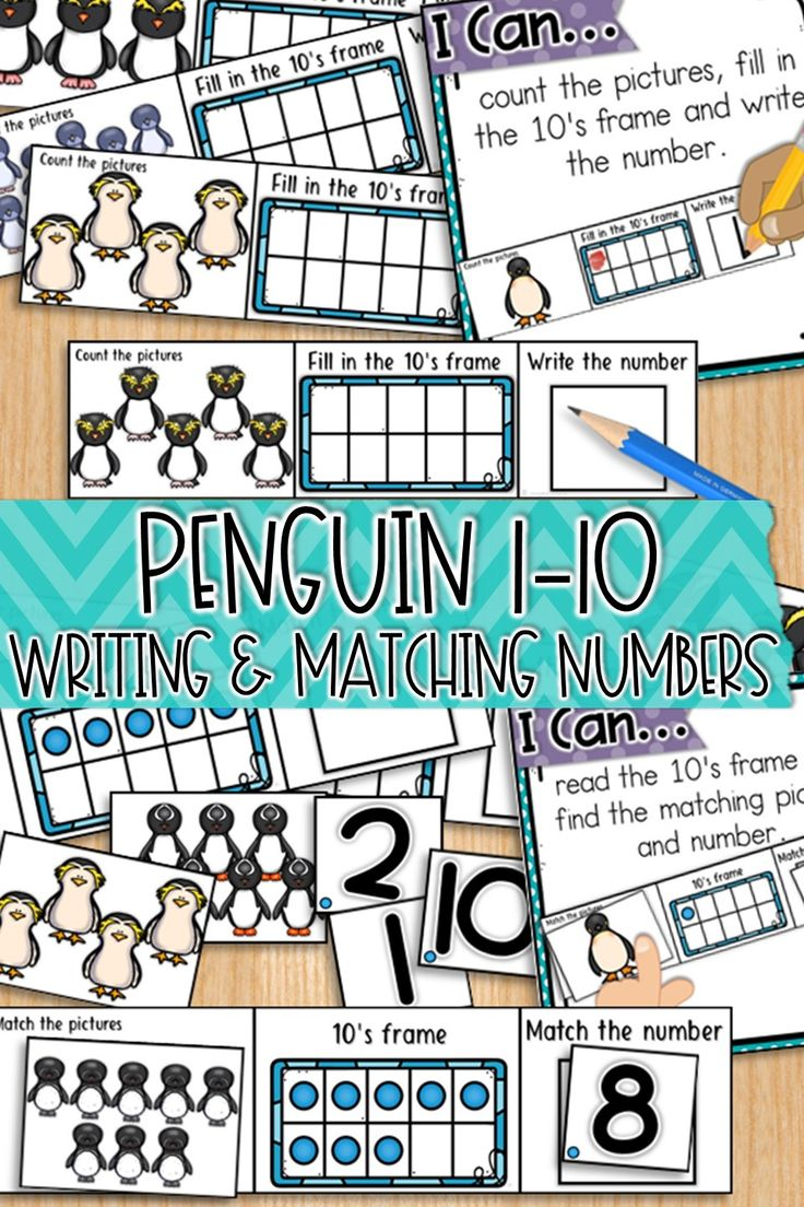 Practice numbers to 10 with this cute Penguin themed math pack.  Students are: 1 to 1 counting, filling in and reading 10's frames, writing, reading and matching numbers.  #wintermath #tensframes #kindergartenmath #kindergarten #numbers #numbersto10 #penguins #penguinmath