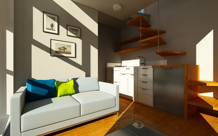 Nomad-Micro-Homes-Interior.jpg 1100×687 pixels Think I'd have to have the steps closer together to be able to get to the loft, but I love the inventive way they're included.