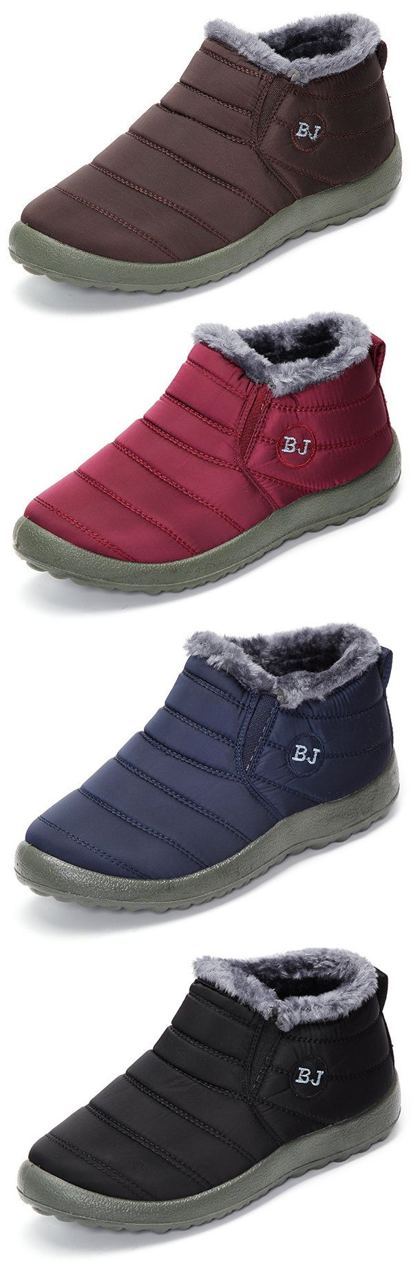US$15.72#Letter Warm Fur Lining Flat Slip On Ankle Boots For Women