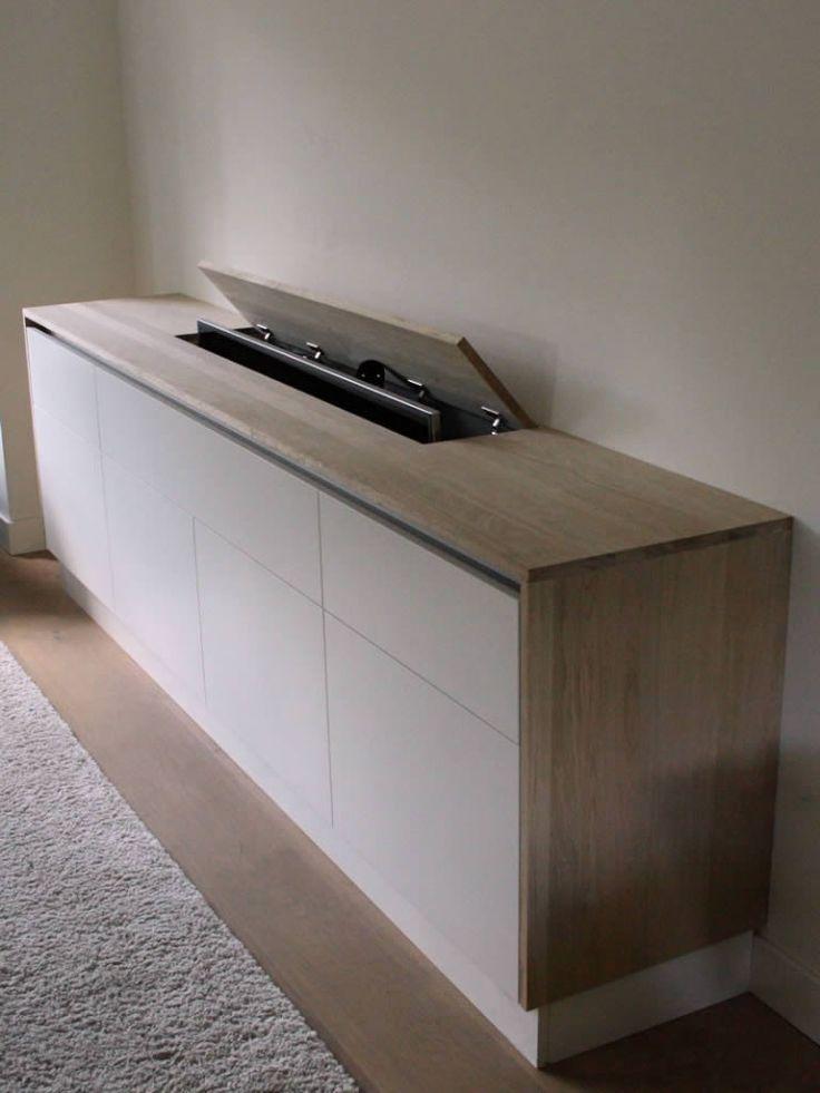 insigt.nl TV meubel op maat van eiken met TV lift