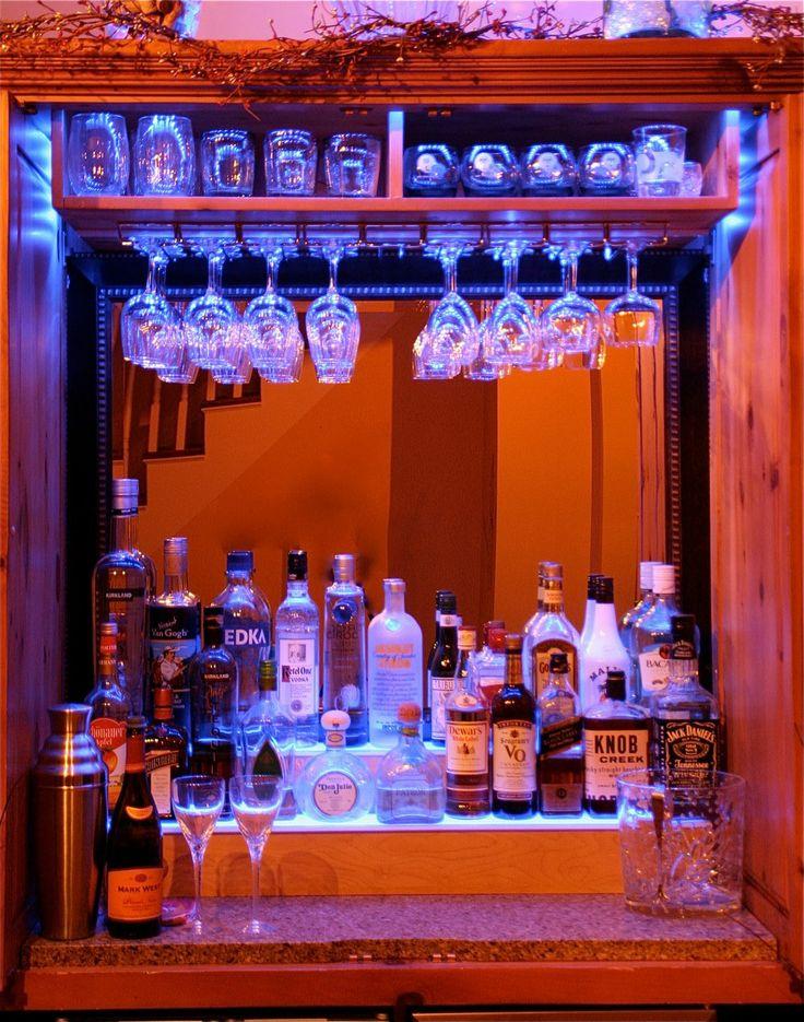 Basement Bar Floating Shelves