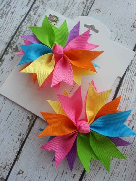 Pinwheel hairclip set 3 inch bright fun rainbow by JerseyBowtique, $8.00