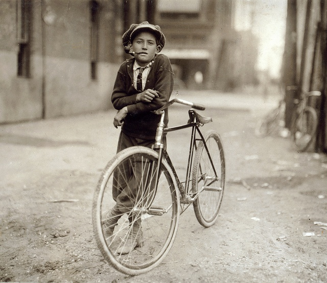Messenger boy working for Mackay Telegraph Company, said fifteen years old. Exposed to Red Light dangers, Waco, Texas, by Lewis Wickes Hine 1913: Bicycles,  Trike, Tricycle, Bike, Waco Texas,  Velociped, Lewis Hines, Vintage Photo, Messenger Boys