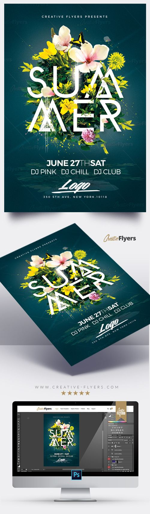 Creative Summer Flyer Templates is a premium Photoshop PSD flyer / poster template designed by Creative Flyers perfect to promote your Summer Party ! #summer #flyers #templates #floral #creativeflyers