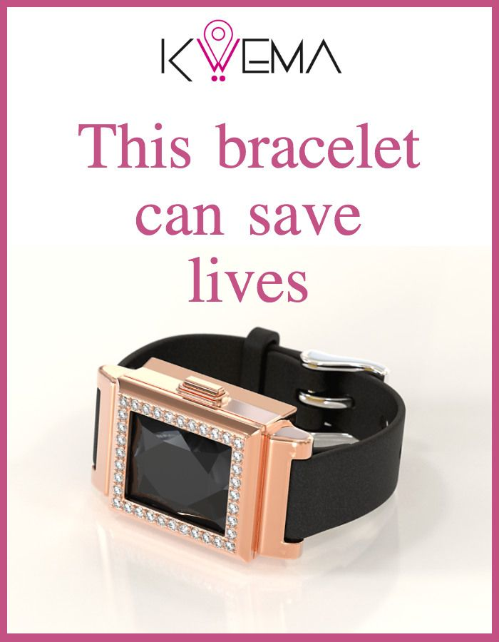 Kwema has a hidden button that notifies your contacts when you're in trouble. #Fashion #Bracelet #Jewelry #Safety #Accessories