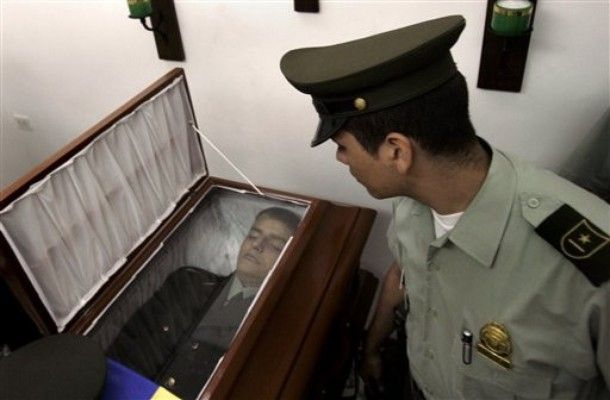 A young policeman on his casket