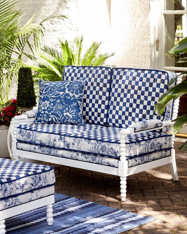Mackenzie Childs Indigo Villa Outdoor Settee Outdoor Sofa Outdoor Furniture Diy Outdoor Furniture