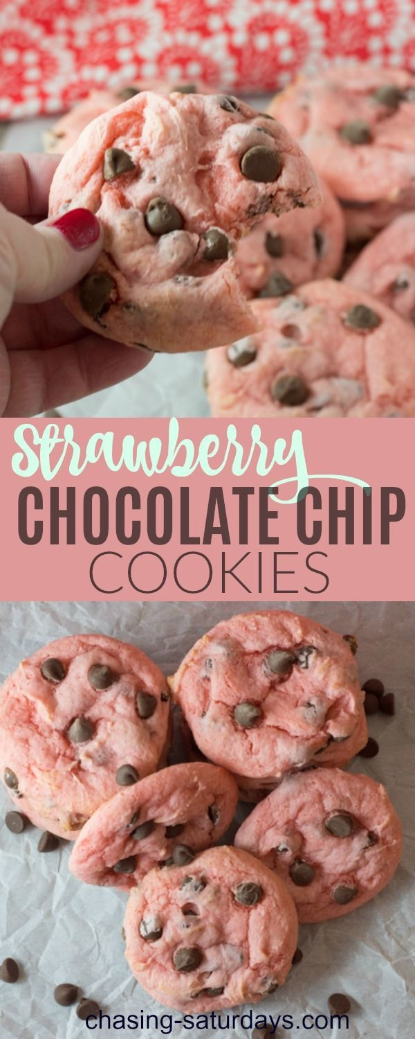Strawberry Chocolate Chip Cookies is a simple box cake recipe to sweeten up the original chocolate chip cookie. This is a perfect sweet treat for your Valentine! Chasing Saturday's #cookies #valentinesday  #chocolatechip