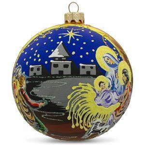 Admiring Newborn Jesus Glass Ball Religious Nativity Christmas Ornament Holiday Gift Idea