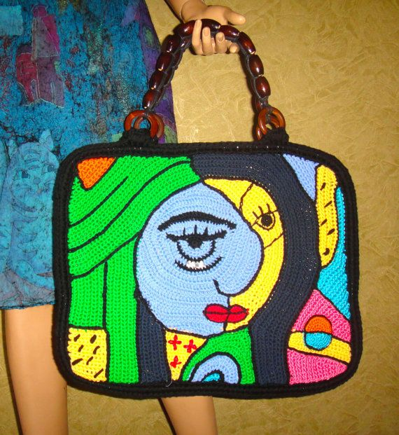 crocheted summer bag PIKASSO 3 for girls and by annalesnikova, $850.00