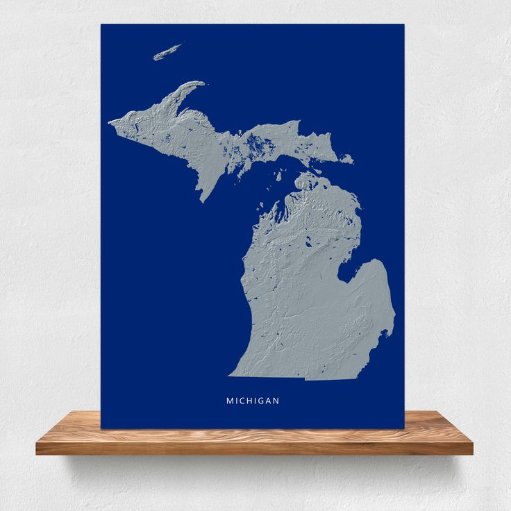 Michigan state landscape map print in navy by Maps As Art. #michigan #map