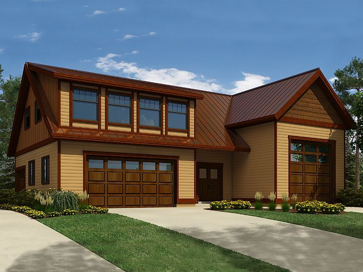 010G 0017: Unique Carriage House Plan With RV Bay, Double Garage Bay,