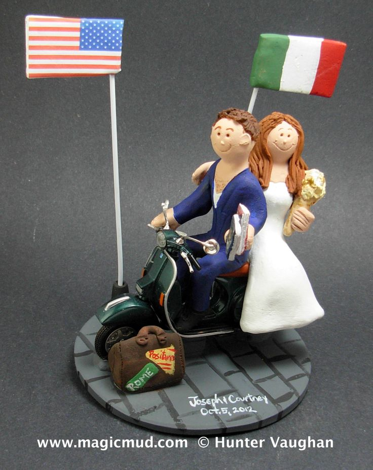 Italian American Wedding Cake Topper http://www.magicmud.com   1 800 231 9814  magicmud@magicmud.com $235  https://twitter.com/caketoppers         https://www.facebook.com/PersonalizedWeddingCakeToppers   #italy#italian#vespa#scooter#wedding #cake #toppers #custom #personalized #Groom #bride #anniversary #birthday#weddingcaketoppers#cake-toppers#figurine#gift#wedding-cake-toppers…