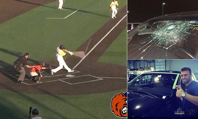 Minor league baseball player shatters his OWN windshield with home run