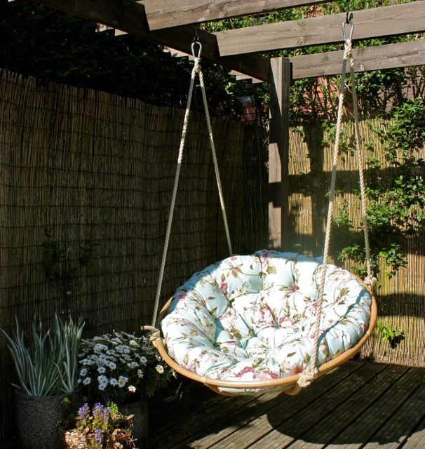 YIAYIA'S Swinging Papasan Chair....  Genius!  now I know what to do with mine.The blank space in the swing is now for my swing.