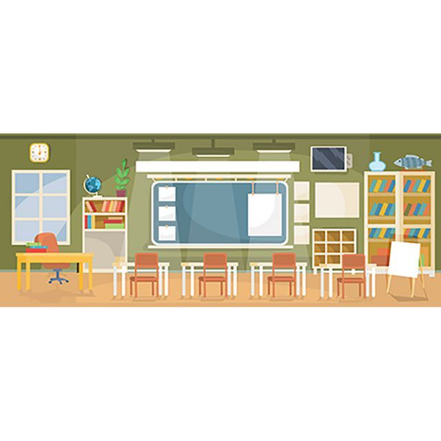 Vector Flat Illustration Of An Empty Classroom In A School Univ Room Clipart College Interior Png And Vector With Transparent Background For Free Download Flat Illustration Classroom Interior Classroom Images