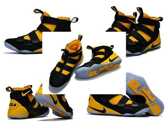 Latest LBJ Sneakers Cheap Nike Zoom Lebron Soldier 11 XI Away Black Tour Yellow Gold