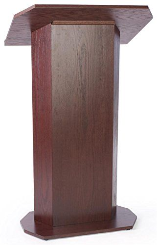 49-inch-tall Pedestal Lectern with Concealed Shelf, Wood Veneer Presentation Podium for Standing Presenter - Red Mahogany Stain  //Price: $ & FREE Shipping //    #office #officelife #officeview #officeworks #myoffice #officegirl #officetime #officework