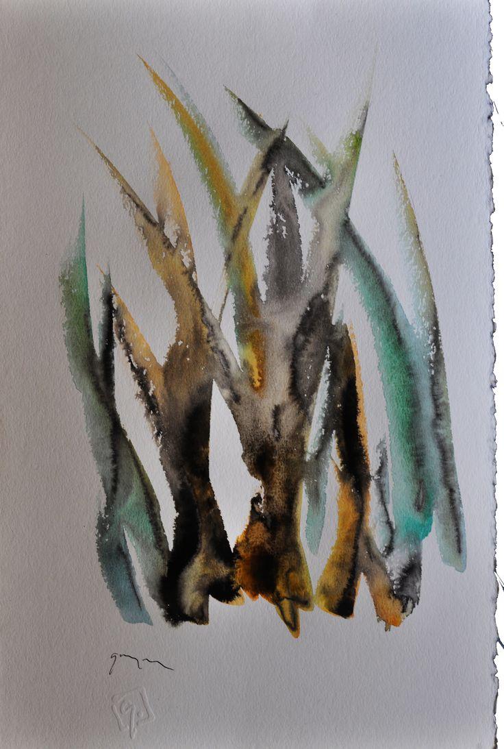 Fű No 02 (akvarell, tus, karton, 32x21)