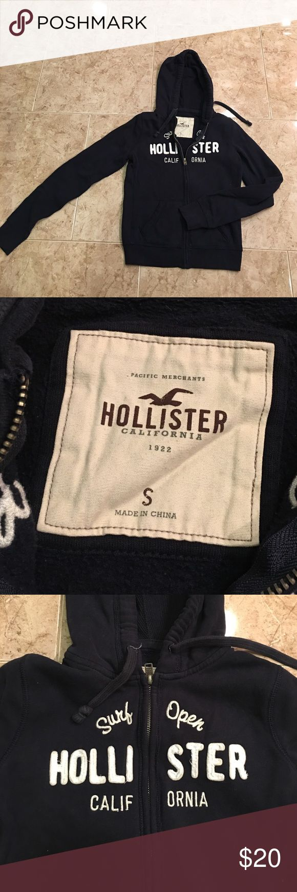 Hollister Zip up Sweatshirt This Hollister Zip up Sweatshirt is perfect for those breezy fall days. Good condition. Navy Blue and White. Very comfortable. Hollister Tops Sweatshirts & Hoodies