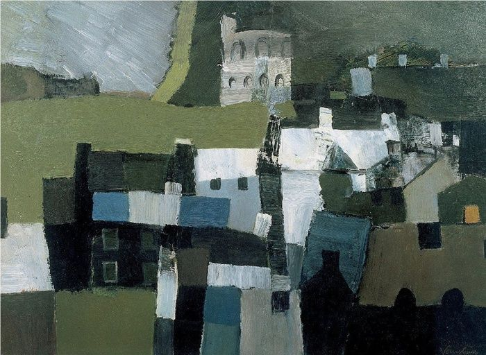 'Richmond, Yorkshire' (c.1955) by British artist Keith Vaughan (1912-1977). Oil on card, 10.25 x 14 in. via Offer Waterman