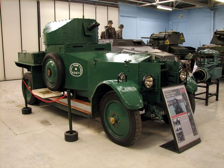 This Rolls Royce Armoured Car is the oldest vehicle in the Tank Museum still in running order. It was built at Rolls Royce's Derby Works in 1920 and first saw service in Ireland the next year.