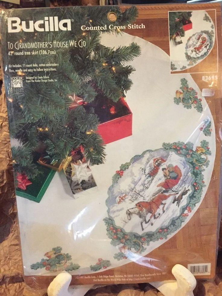 TO GRANDMOTHERS HOUSE WE GO Cross Stitch Christmas Tree Skirt Kit Sleigh RARE