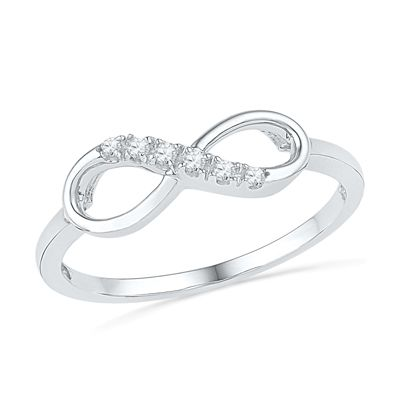 Diamond Accent Infinity Ring in 10K White Gold - View All Rings - Zales