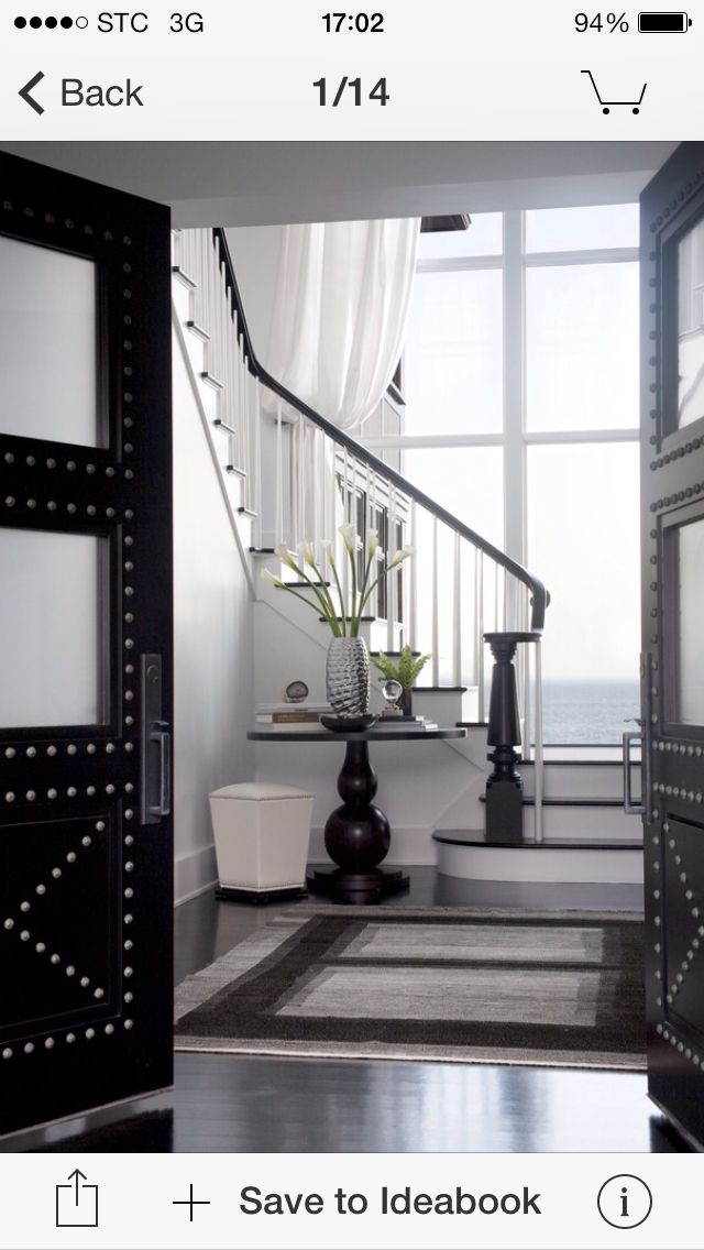 Sleek Black And White Makes A Bold Impact In The Entryway Of This East Coast  Home, Which Also Sports An Eviable Ocean View Through The Large Windows  (via ...